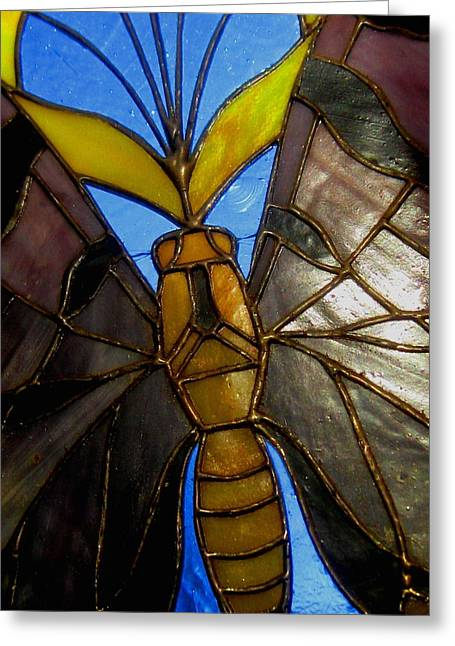 Stainglass Greeting Cards - Butterflys Are Free Greeting Card by Allen n Lehman