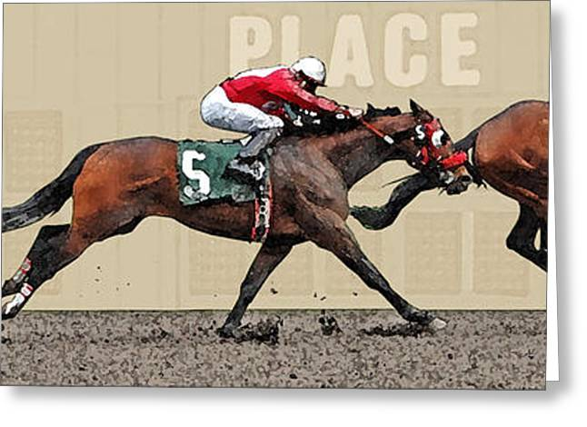 Race Horse Greeting Cards - By A Length Greeting Card by Randall Arthur