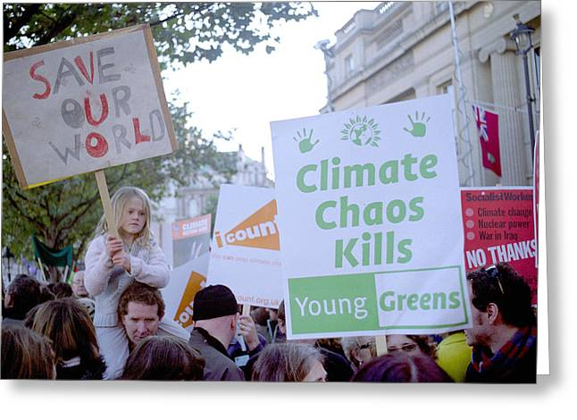 Campaign Against Climate Change March Greeting Card by Victor De Schwanberg