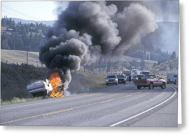 Overturn Greeting Cards - Car In Flames Greeting Card by Kaj R. Svensson