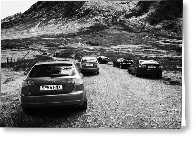 Car Park Greeting Cards - Cars Parked By Walkers On Rough Path At Glen Etive Glencoe Highlands Scotland Uk Greeting Card by Joe Fox