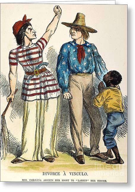 Divorce Greeting Cards - Cartoon: Secession, 1861 Greeting Card by Granger