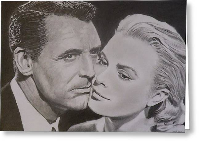 Cary Grant And Grace Kelly Greeting Card by Mike OConnell