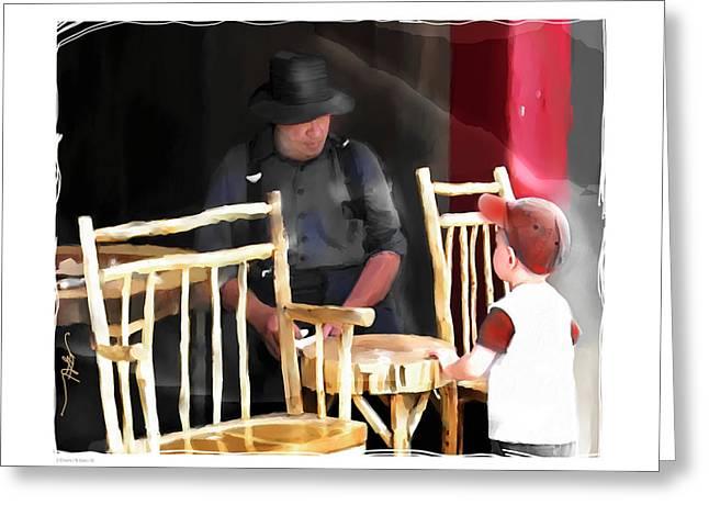 Amish Man Greeting Cards - 2 Chairs Greeting Card by Bob Salo