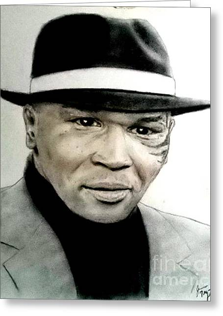 Champion Pastels Greeting Cards - Champion Boxer and Actor Mike Tyson Greeting Card by Jim Fitzpatrick