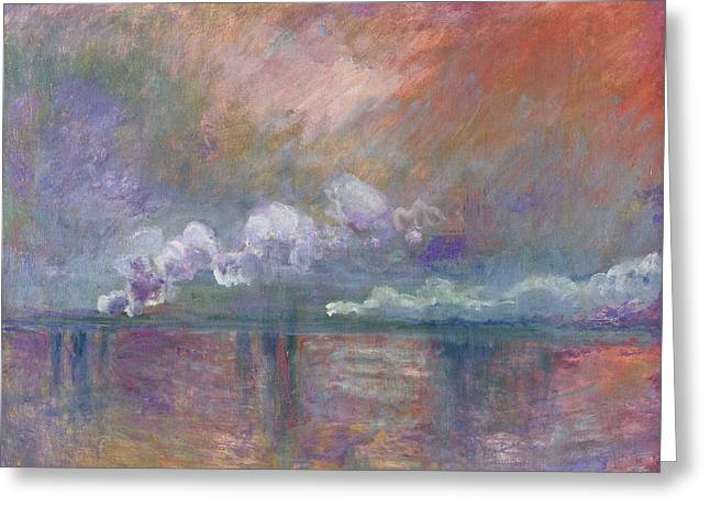 Fog Mist Paintings Greeting Cards - Charing Cross Bridge Greeting Card by Claude Monet