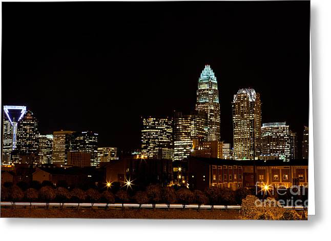 Mecklenburg County Greeting Cards - Charlotte Skyline at night Greeting Card by Patrick Schneider