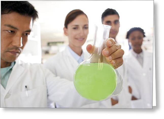 East Asian Ethnicity Greeting Cards - Chemists Greeting Card by