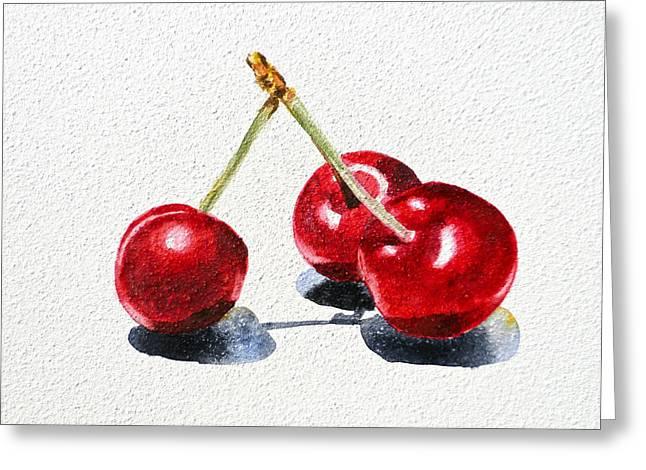 Cherry Paintings Greeting Cards - Cherries Greeting Card by Irina Sztukowski