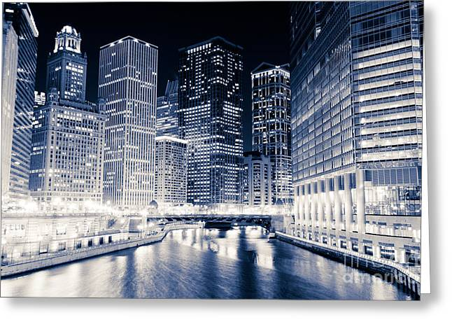 Irv Greeting Cards - Chicago River Buildings at Night Greeting Card by Paul Velgos