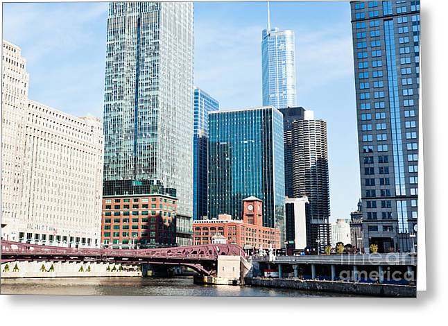 Merchandise Photographs Greeting Cards - Chicago River Skyline Greeting Card by Paul Velgos