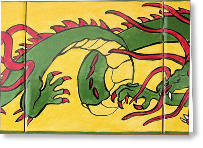 Ceramic Ceramics Greeting Cards - Chinese Dragon Greeting Card by Dy Witt