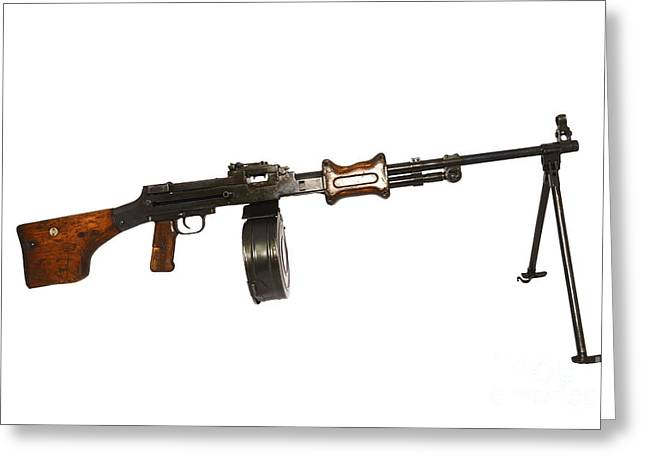 Copy Machine Greeting Cards - Chinese Type 56 Light Machine Gun Greeting Card by Andrew Chittock