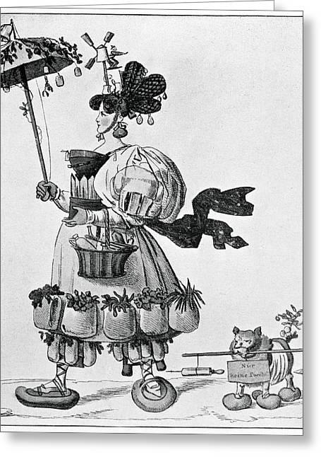 Die Karikatur Und Satire In Der Medizin Greeting Cards - Cholera Prevention, Satirical Artwork Greeting Card by