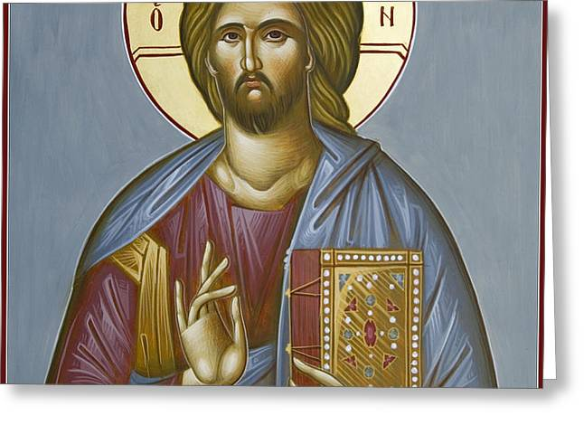 Christ Pantokrator Greeting Card by Julia Bridget Hayes