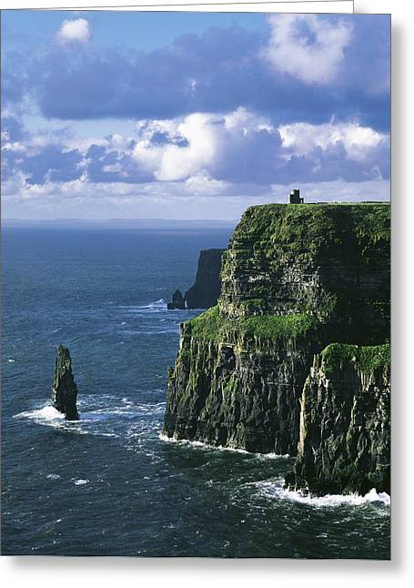 County Clare Greeting Cards - Cliffs Of Moher, Co Clare, Ireland Greeting Card by The Irish Image Collection