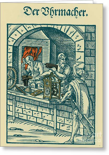 Clock Shop Greeting Cards - Clockmaker, Medieval Tradesman Greeting Card by Science Source