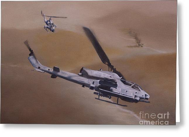 Cobra Greeting Cards - Close Air Support Greeting Card by Stephen Roberson