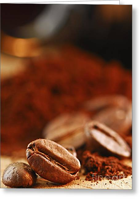 Food Still Life Greeting Cards - Coffee beans and ground coffee Greeting Card by Elena Elisseeva