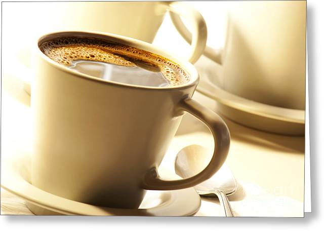 Menu Greeting Cards - Coffee in cup Greeting Card by Blink Images