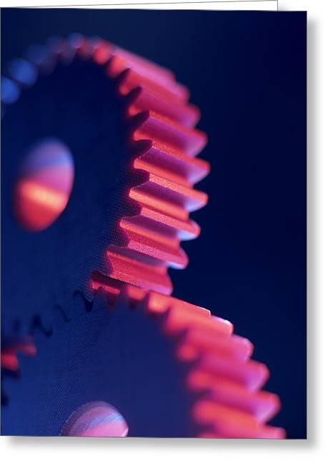 Mechanism Greeting Cards - Cogwheels Greeting Card by Tek Image