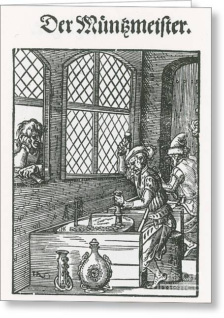 Coin Stamper, Medieval Tradesman Greeting Card by Science Source