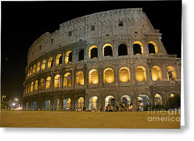 Italy History Greeting Cards - Coliseum illuminated at night. Rome Greeting Card by Bernard Jaubert