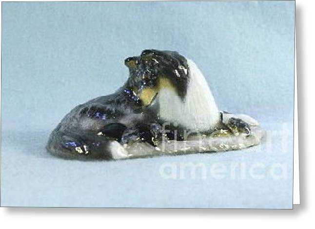 Collie Sculptures Greeting Cards - Collie And Pups Greeting Card by Ron Hevener