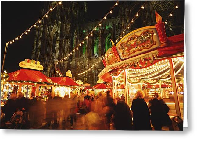 Christmas Market Greeting Cards - Cologne Cathedral And Christmas Market Greeting Card by Axiom Photographic