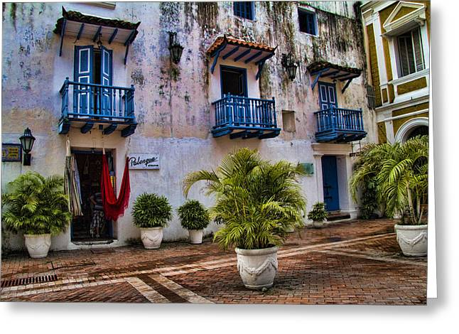 Colonial buildings in old Cartagena Colombia Greeting Card by David Smith