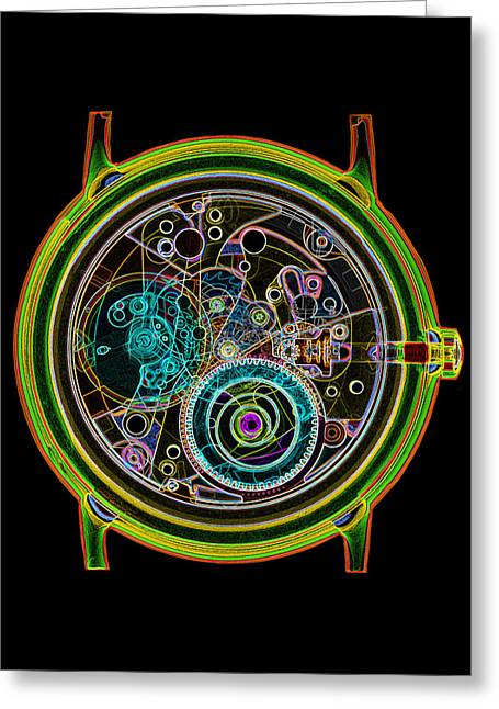 Cog Greeting Cards - Coloured X-ray Of A 17-jewel Wrist-watch Greeting Card by D. Roberts
