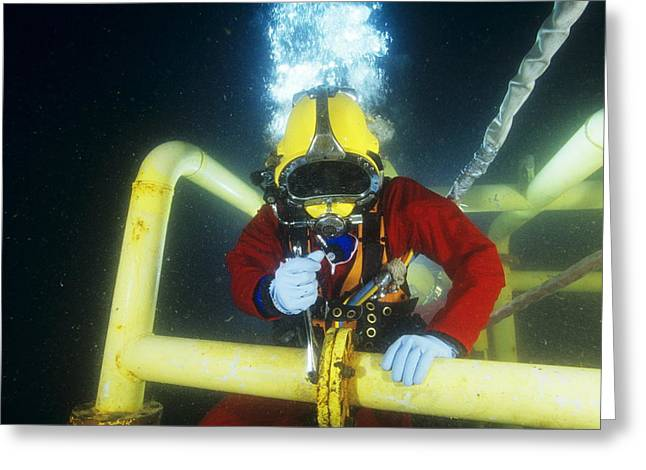 Commercial Diver Greeting Card by Alexis Rosenfeld