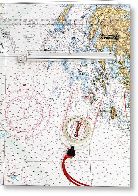 Nautical Chart Greeting Cards - Compass Rose Greeting Card by Photo Researchers