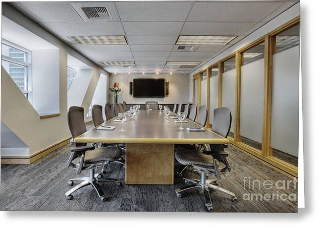 Office Space Photographs Greeting Cards - Conference Table and Chairs Greeting Card by Andersen Ross