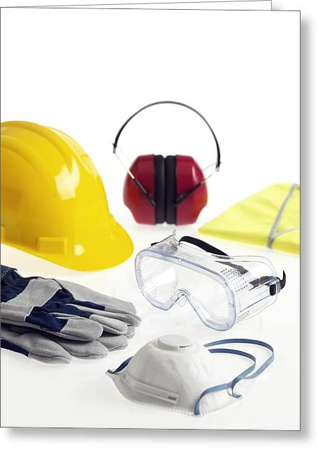 Construction Helmet Greeting Cards - Construction Workers Safety Equipment Greeting Card by Tek Image