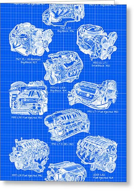 Big Block Chevy Greeting Cards - Corvette Power - Corvette Engines Blueprint Greeting Card by K Scott Teeters
