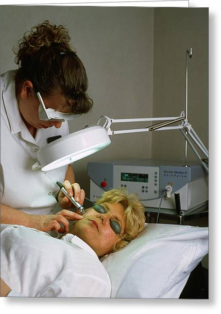 Dermatology Greeting Cards - Cosmetic Laser Surgery Greeting Card by Tony Mcconnell