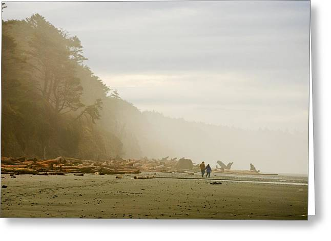 Foggy Beach Greeting Cards - Couple on a Foggy Beach Greeting Card by Wilbur Young