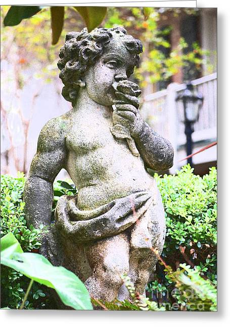 New Orleans Greeting Cards - Courtyard Statue of a Cherub Smelling a Rose French Quarter New Orleans Film Grain Digital Art Greeting Card by Shawn O