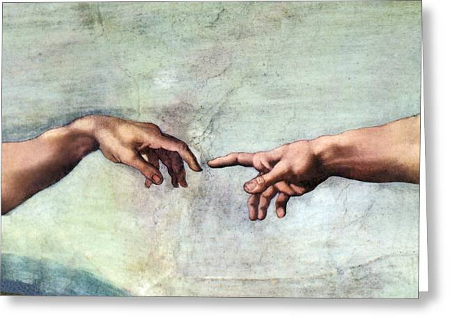 Creation Of Adam Greeting Card by Sheila Terry