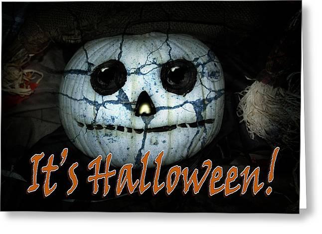 Tricks Mixed Media Greeting Cards - Creepy Halloween Pumpkin Greeting Card by Gravityx Designs