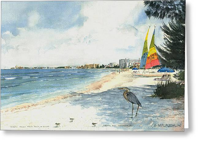 Crescent Greeting Cards - Crescent Beach on Siesta Key Greeting Card by Shawn McLoughlin