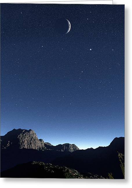 Moonlit Night Greeting Cards - Crescent Moon, Computer Artwork Greeting Card by Mehau Kulyk