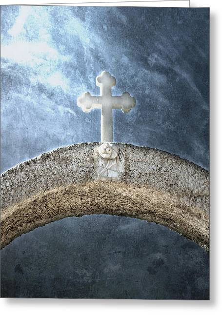 White Marble Greeting Cards - Cross Greeting Card by Joana Kruse