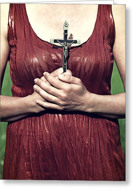 Crucifix Greeting Card by Joana Kruse