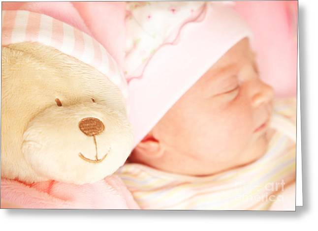 Cute Little Baby Sleeping Greeting Card by Anna Omelchenko