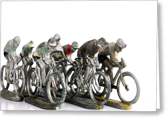 White Background Greeting Cards - Cyclists Greeting Card by Bernard Jaubert