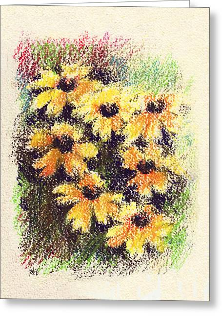 Summer Landscape Drawings Greeting Cards - Daisies Greeting Card by Rachel Christine Nowicki