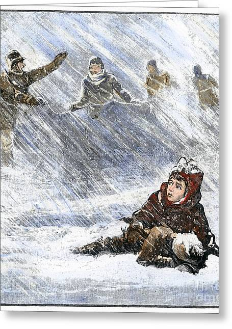 Missing Child Greeting Cards - Dakota Blizzard, 1888 Greeting Card by Granger