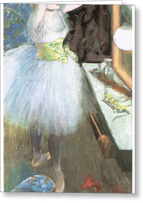 Dressing Room Paintings Greeting Cards - Dancer in her Dressing Room Greeting Card by Edgar Degas